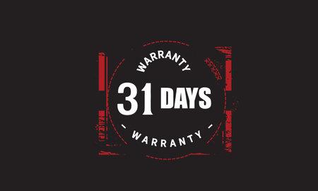 31 Days Warranty with black bakground