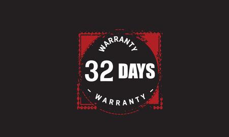32 Days Warranty with black bakground