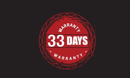 33 Days Warranty with black bakground