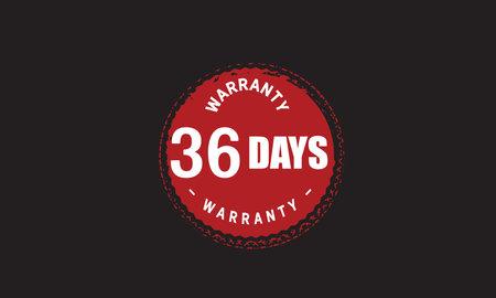 36 Days Warranty with black bakground