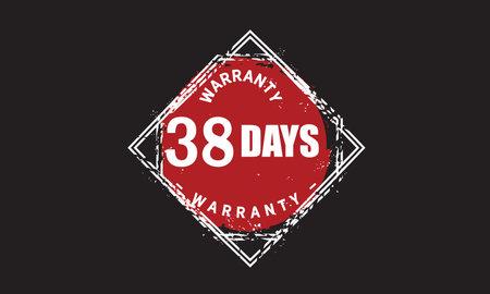 38 Days Warranty with black bakground Vectores