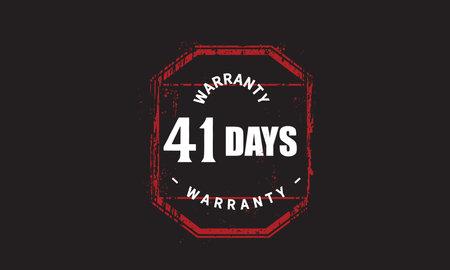 41 Days Warranty with black bakground