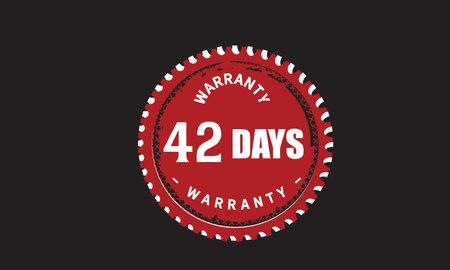 42 Days Warranty with black bakground Vectores