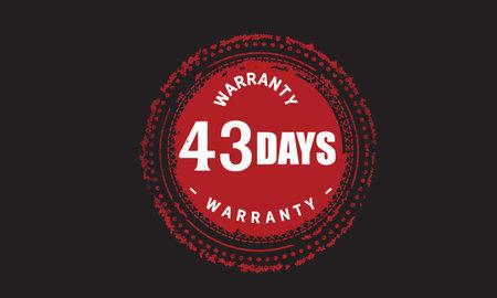 43 Days Warranty with black bakground