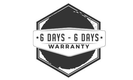 6 days warranty design stamp Illustration