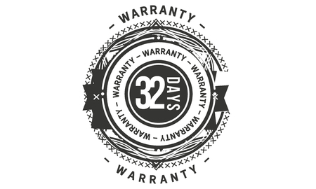 32 days warranty design stamp