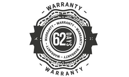 62 days warranty design stamp Illustration