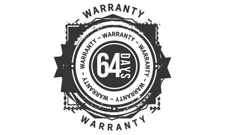 64 days warranty design stamp Illustration