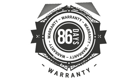 86 days warranty design stamp Illustration