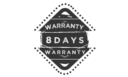 8 days warranty design stamp Illustration