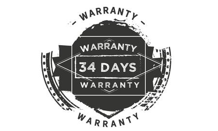 34 days warranty design stamp Illustration