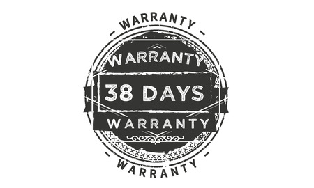 38 days warranty design stamp 向量圖像