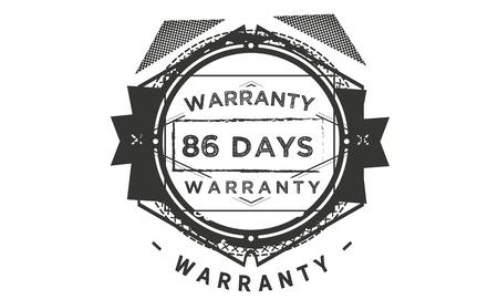 86 days warranty illustration design stamp badge icon