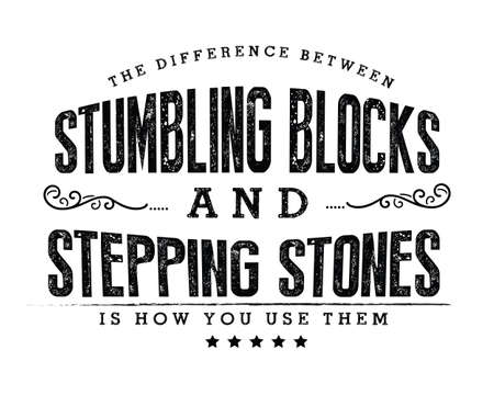 The difference between stumbling blocks and stepping stones is how you use them 免版税图像 - 162429368