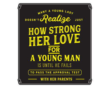 Many a young lady does not realize just how strong her love for a young man is until he fails to pass the approval test with her parents Stock Illustratie