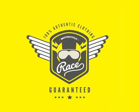100% authentic clothing, motorcycle race icon