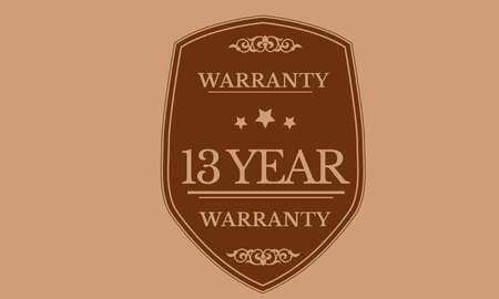 13 year warranty illustration design Ilustração