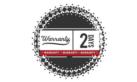 2 days warranty illustration design stamp