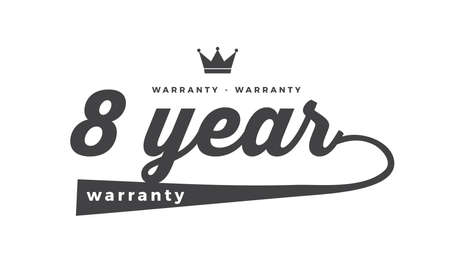 8 year warranty illustration design stamp Illustration
