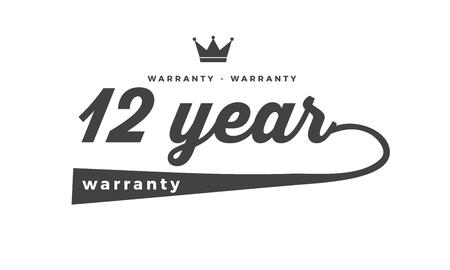12 year warranty illustration design stamp Illustration
