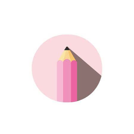 vector colored pencil with shadow in pink circle and white background Ilustracja