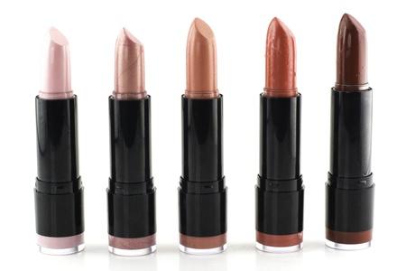 gamma tone: Set of lipsticks on white background  Stock Photo
