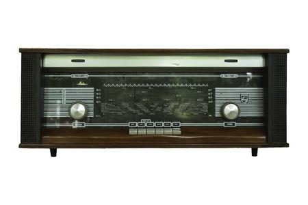 shortwave: Old wood radio isolated Stock Photo
