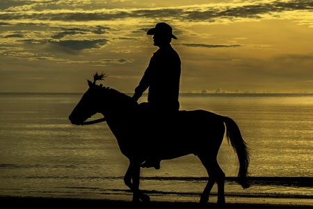 Riding with horse in sunset photo
