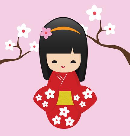 favorite japan doll Vector