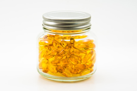 lecithin: Fish Oil In Bottle Isolated Stock Photo