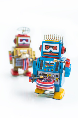 old classic robot toys, isolated on white