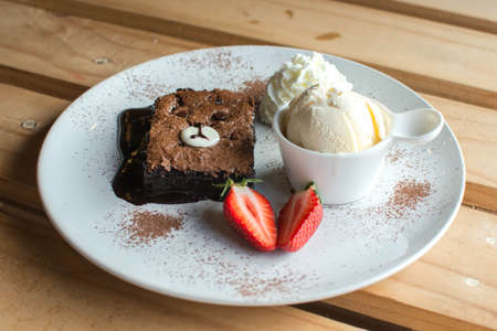 Brownies cake and Ice cream with cartoon concept
