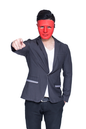 spying: Businessman with red mask concept, isolated on white background Stock Photo