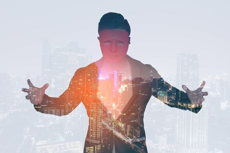 Double exposure of business man and city with mask, portrait business concept.