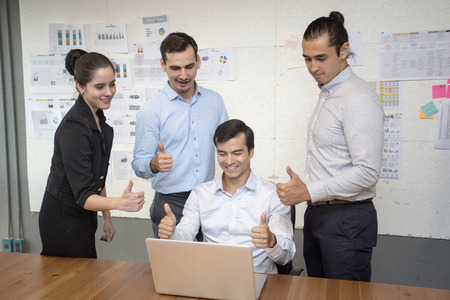 vdo: Businesspeople working togerther with happy emotion, business successful concept,  20-30 year. Stock Photo