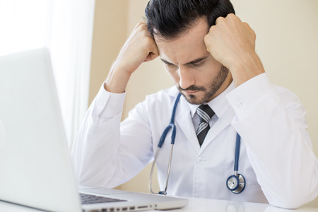 Portrait of Doctor in stress situation for work, People with medical concept. Stock Photo