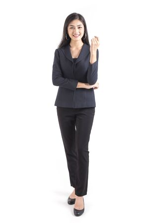Asian Business Woman smiling, Woman stand and smile, isolated on white background, Woman working concept.