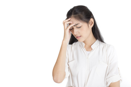 Young Asian Woman feeling headache Isolated on white background.