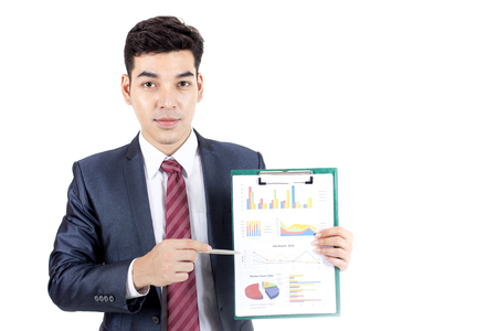 Asian Businessman show chart on White Background with Success feeling, Business presentration Concept, isolated on white background. Stock Photo