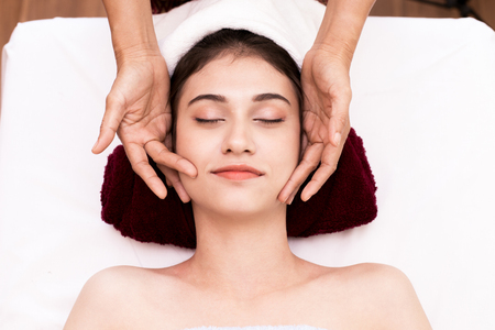 Close up of Beautiful young woman having head massage in spa salon wellness, Beauty healthy lifestyle and relaxation concept