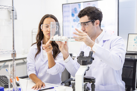 Scientist looking to rat and Talking together. Scientist researching at lab.