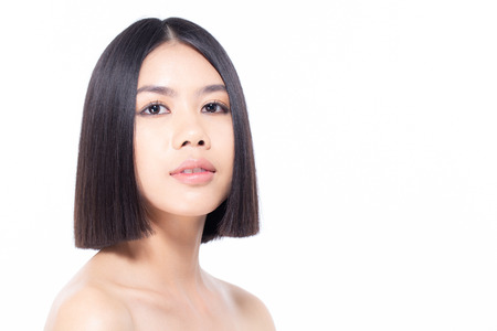Beautiful Asian Woman Portrait. Beautiful Woman looking to camera. People with Youth and Skin Care Concept. isolated on white background. Banco de Imagens - 114332581