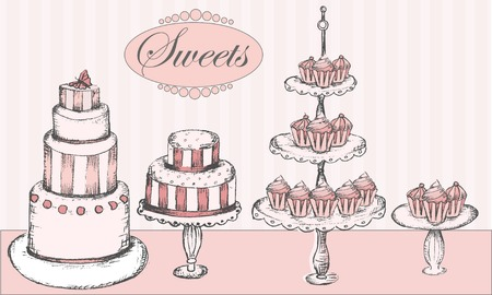 Collection of cakes, cupcakes and cake pops
