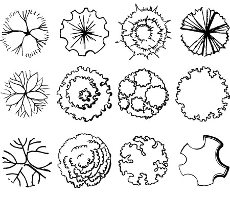 A set di simboli treetop, per architettonico o progettazione del paesaggio  Archivio Fotografico - 42570708