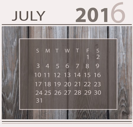light backround: Calendar for july 2016 on wood background texture