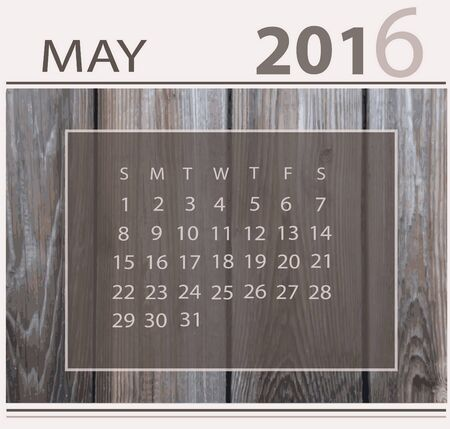 light backround: Calendar for may 2016 on wood background texture