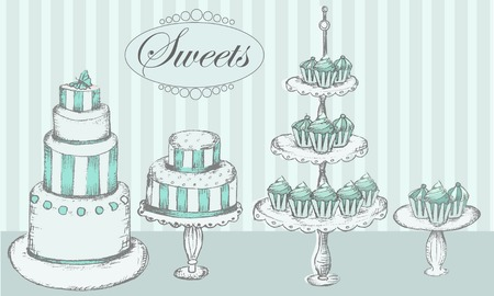 cake stand: Collection of  cakes, cupcakes and cake pops Illustration