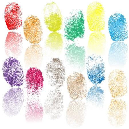 Set of fingerprints, vector illustration isolated on white Vettoriali