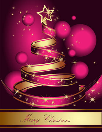 Stylized ribbon Christmas tree. Pink and gold vector illustration.