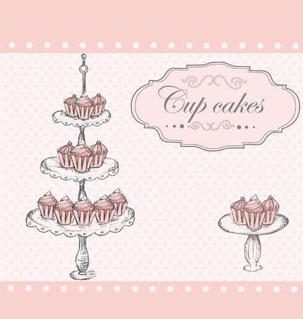 Background with Cup cakes